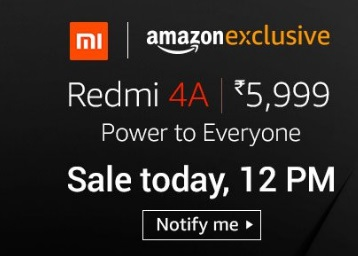 Sale at 12.PM : Redmi 4A (2GB RAM, 13 MP Camera + Additional FREEBIES)