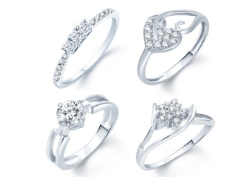 Sukkhi Alloy Cubic Zirconia Rhodium Plated Ring Set at Rs. 39 low price