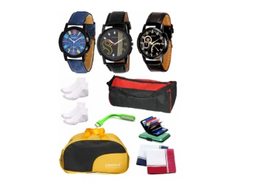 Super Combo : 3 Stylish Analogue Wrist Watches With Fashion Accessories at Rs. 499 discount deal