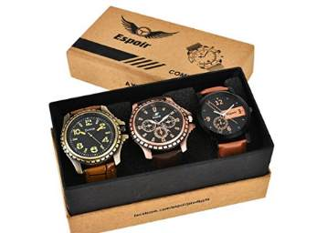 Steal : Espoir Analogue Black Dial Men's Watch Combo at Just Rs. 398 + FREE Shipping discount deal