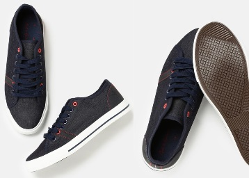 Mast & Harbour Navy Blue Sneakers at Flat 50% Off + Extra 20% Off + FREE Shipping low price