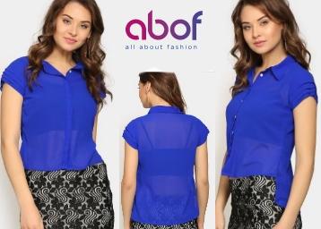 LOOT Deal:- Nineteen Women Blue Regular Fit Sheer Shirt at Just Rs. 80 low price