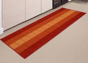 Status Orange Nylon Striped & Checkered Rectangular Runner at Flat 81% Off low price