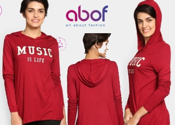 abof Women Red Printed Regular Fit Hooded T-shirt at Just Rs. 198 low price