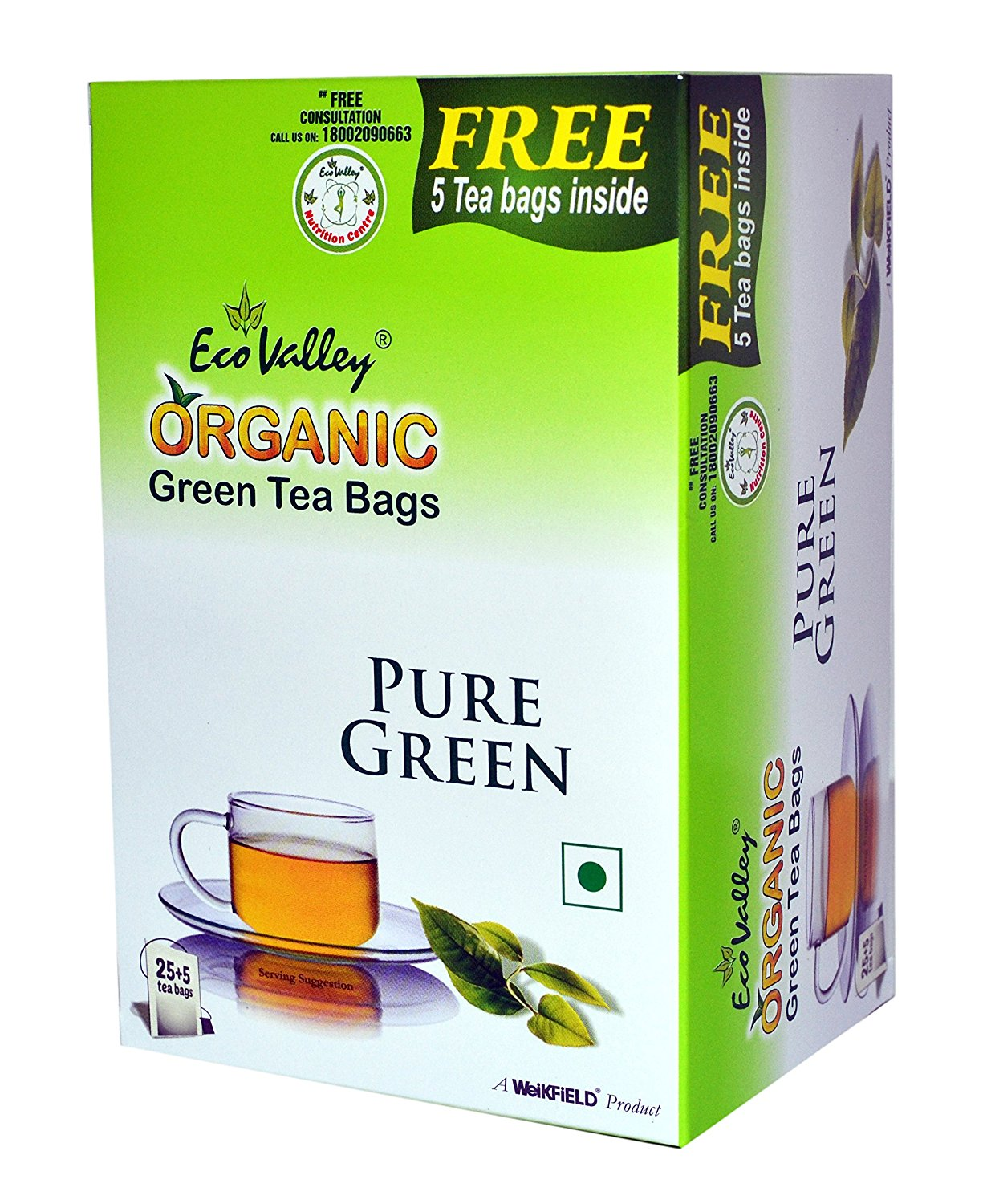 Eco Valley Organic Green Tea, Pure, 25 Tea Bags (FREE 5 Tea Bags ) at Rs. 105 low price