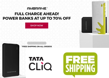 Up to 70% OFF on AMBRANE Power Banks, starts at Rs. 249 + Free Shipping