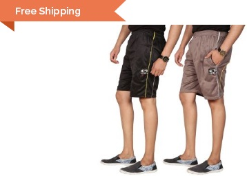 Swaggy Solid Mens Short Combo of 2 at Just Rs. 199 + 10% Cashback + FREE Shipping low price