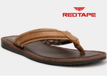 Red Tape Men Brown Leather Sandals at Flat 60% Off +Extra Rs. 100 Off + Free Shipping low price