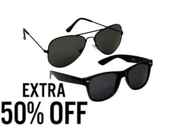 Aviator Sunglasses Pack Of 2 at Flat 70% Off + Extra 50% Off low price