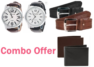 Hurry Up : Combo of 2 Watch, Wallet & Brown leather Belt at Just Rs.299 low price