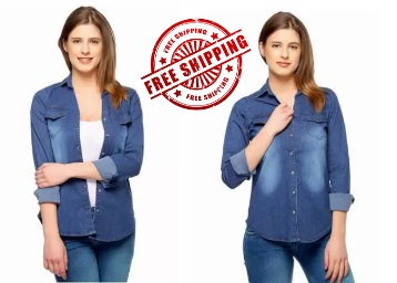 Get On Denim Casual Shirt for Women018 at just Rs.399 + Extra 10% Cashback low price