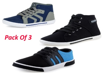 LOOT DEAL : MEN'S NAVY BOOT BOXER AND SNEAKER SHOES COMBO PACK OF 3 low price