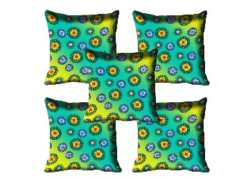 {Lightning Deal}meSleep Firozi Cushion Cover Set of 5 at Rs.329 With FREE Shipping. discount offer