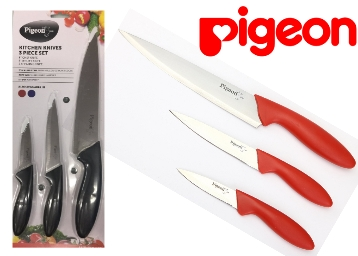 (80%Claimed):- Pigeon Kitchen Knives Set, 3-Pieces at Just Rs. 149 + Free Shipping discount offer