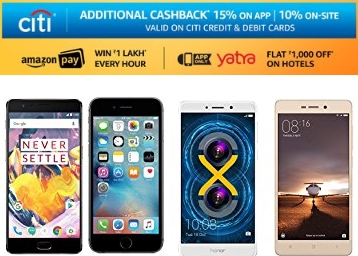 Steal:- Get Up to 50% OFF on Top Selling Mobiles + Extra 10% Cashback for Citibank Users low price