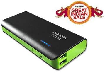 ADATA PT100 10000mAH Power Bank (Black-Green) at Flat 75% Off + Free Shipping low price