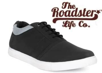 Steal Deal – Roadster Sneakers (Black) at Flat 77% Off + Free Shipping low price