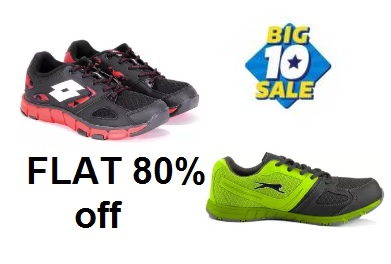 Loot Lo:- FLAT 80% off on Lotto & Slazenger Men's Shoes + Extra 30% Cashback discount deal