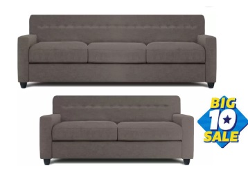 [Bumper Offer] Get Dolphin Solitaire Fabric 3 + 2 Grey Sofa Set + Extra 30% Cashback low price