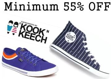 Big Loot:- KOOK N KEECH Sneakers at FLAT 80% OFF + Extra 30% Cashback low price