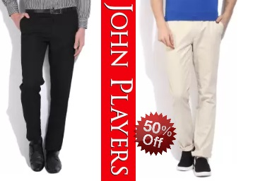 Steal : John Players Trousers Flat 50% OFF + Extra 10% Off + FREE Shipping low price