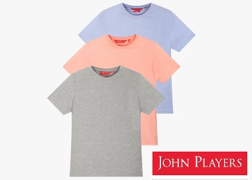 JOHN PLAYERS Pack of 3 Crew-Neck T-shirts from Rs. 600 low price