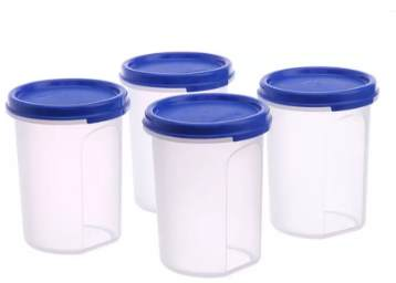Tupperware Storage Container (Pack of 4, Blue, Clear) at Rs.459 low price
