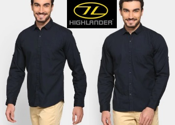 Steal : Get Highlander Men Casual Shirt at just Rs.300 + Extra Rs. 100 Off low price