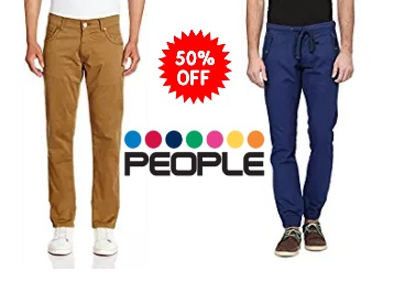 Steal : Flat 50% Off On People Men's Trouser From Rs.449 discount deal