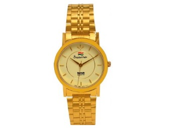 Flat 87% Off On Get HMT Round Dial Gold Metal Strap Quartz Watch at just Rs.169 low price
