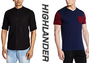 Get Highlander Men's Clothing Minimum 50% off from Rs. 274 low price