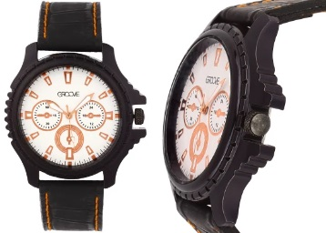 Black Colour Analogue Chrono Style Mens Watch at Flat 67% Off + FREE SHIPPING low price