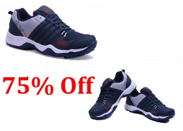 Flat 75% Off : Adza Mens Navy and Grey Lace Sport Shoes at Just Rs. 499 low price