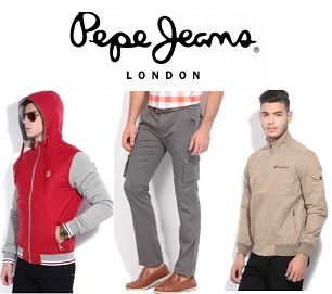 Great Deal :- Pepe Jeans Men's Clothing Minimum 70% Off + 20% Cashback low price