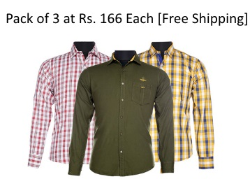 Steal PRICE : Men Assorted Casual Shirts (Pack Of 3) at Just Rs. 499 + 7% Off + FREE Shipping low price