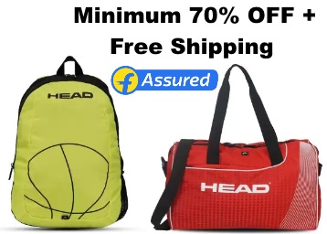 Bumper Deal:- HEAD Backpacks at Minimum 70% OFF, starts at Rs. 375 + Free Shipping low price