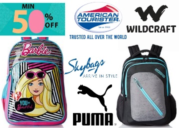 Steal DOD – Min 50% off on TOP Brand Backpacks (Skybags, A.T, Puma) + Free Shipping low price
