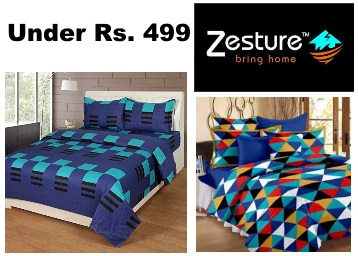 Steal DOD:- ZESTURE Bedsheets All Under Rs. 499, starts at Rs. 329 + Free Shipping low price
