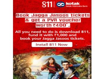 Book Jagga Jasoos ticket via Kotak811 & Get Rs.400 PVR Voucher discount deal