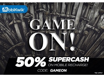 Game On : Get 50% SuperCash on Mobile Recharge via Mobikwik low price