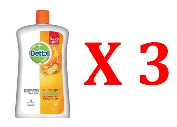Dettol Liquid Soap Jar Re-energise 900 ml (Pack Of 3) at Rs. 384 + FREE Shipping low price
