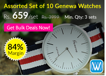 Set of 10 Assorted Genewa Color Strap Watches at FLAT 84% OFF (Rs. 659/Set) low price