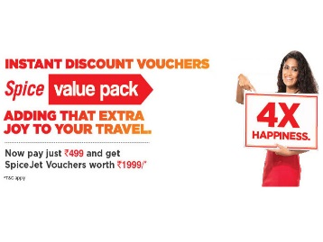 Pay Just Rs.499/Rs.999 and Get SpiceJet Voucher worth Rs.1999/Rs.3999 low price