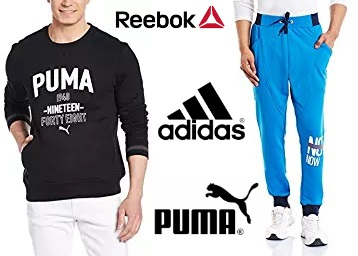 Puma, Reebok & Adidas Clothing 70% Off Or More from Rs. 389 + FREE SHIPPING low price