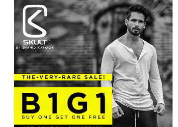 Steal:- Buy 1 Get 1 Free on SKULT Clothing + Extra Rs. 100 OFF + Free Shipping low price