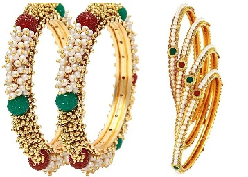 Best For Gifting : Youbella Pearl & Gold Bangle Set at Rs. 569 + FREE Shipping low price