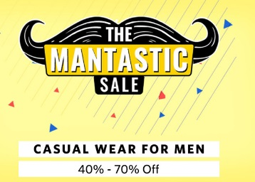 The Mantastic Sale:- FLAT 40% – 70% OFF on All Products + 15% Cashback {Max. Rs. 250} discount deal