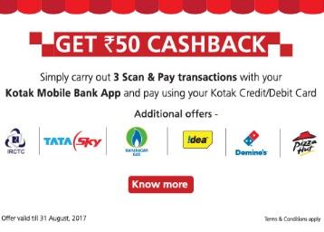 Kotak Scan and Pay:- Get Rs. 50 cashback on transactions using Kotak Credit/Debit Cards discount deal