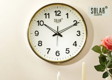 Steal:- Solar Round Whitish Wall Clock at Just Rs. 349 + Free Shipping !! Limited Stocks !! discount deal