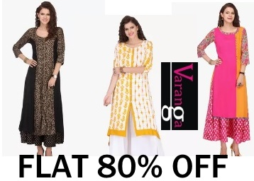 Steal:- VARANGA Kurtas & Suit Sets at FLAT 80% OFF + Extra 21% OFF + Free Shipping low price